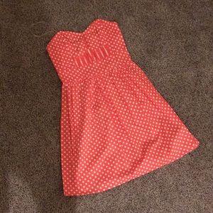 Strapless pink polka dot dress